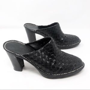 Donald J Pliner Woven leather high heel mules